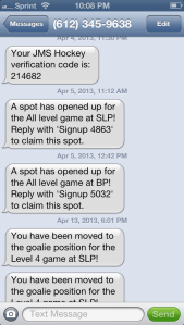 JMS Hockey Text Message Demo